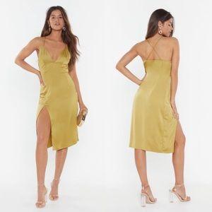 Chartreuse Satin Midi Dress